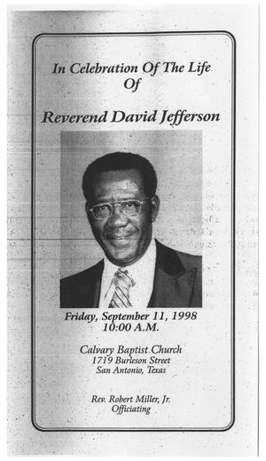Primary view of object titled '[Funeral Program for David Jefferson, September 11, 1998]'.