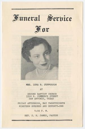 Primary view of object titled '[Funeral Program for Lena B. Jefferson, May 28, 1971]'.