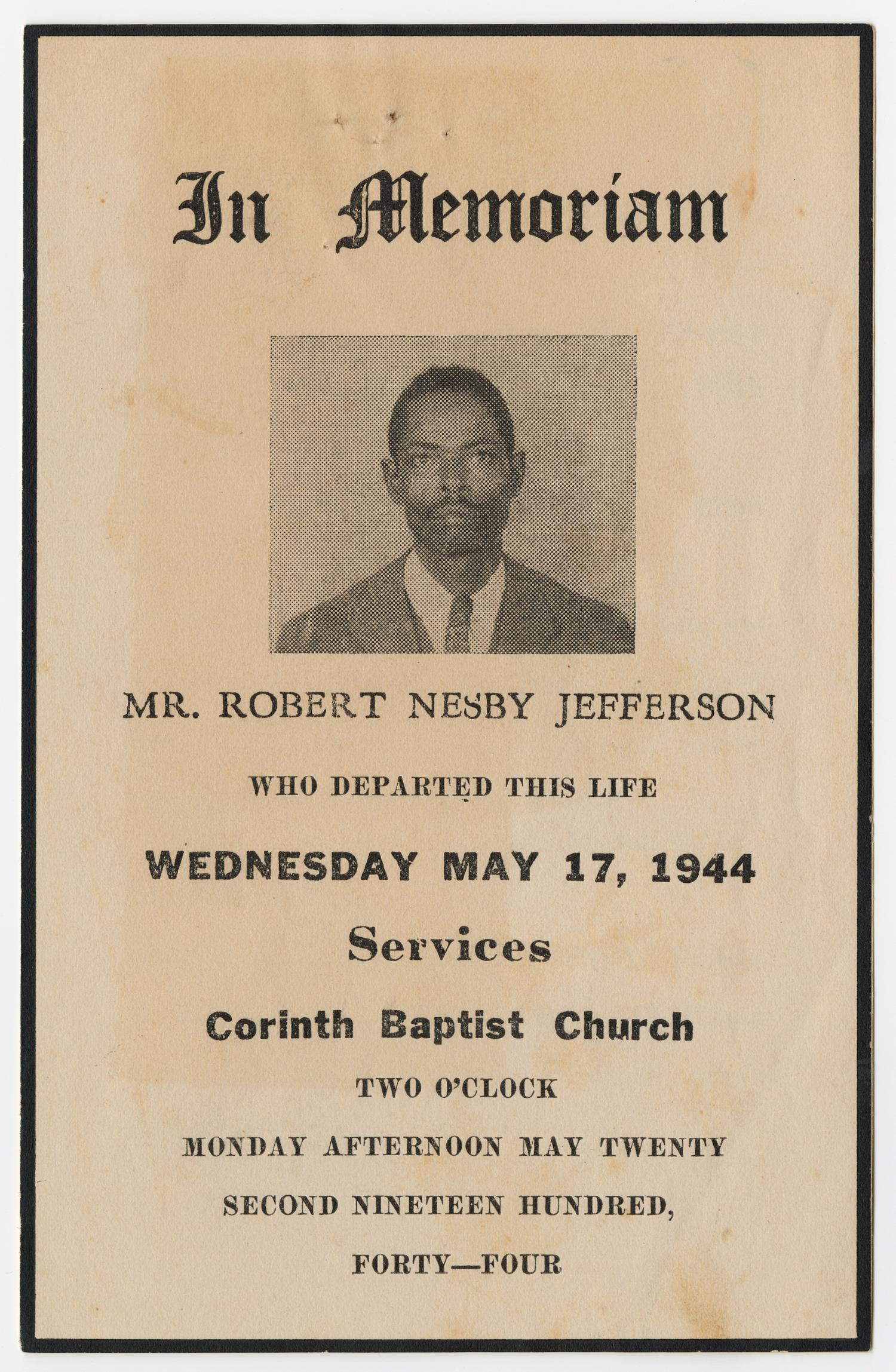 [Funeral Program for Robert Nesby Jefferson, May 22, 1954]                                                                                                      [Sequence #]: 1 of 3