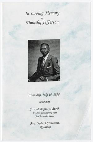 Primary view of object titled '[Funeral Program for Timothy Jefferson, July 16, 1998]'.