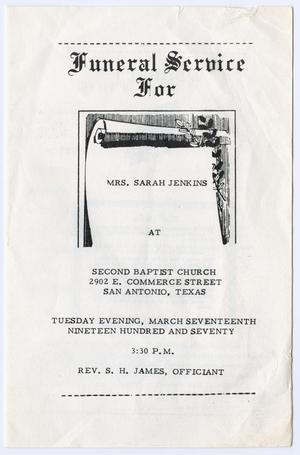 Primary view of object titled '[Funeral Program for Sarah Jenkins, March 17, 1970]'.