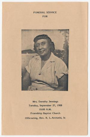 Primary view of object titled '[Funeral Program for Dorothy Jennings, September 27, 1988]'.