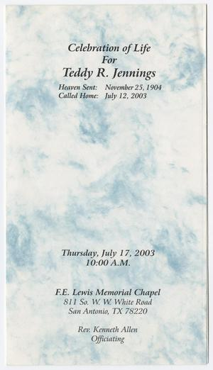 Primary view of object titled '[Funeral Program for Teddy R. Jennings, July 17, 2003]'.
