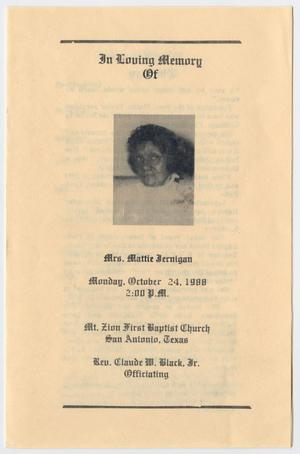 Primary view of object titled '[Funeral Program for Mattie Jernigan, October 24, 1988]'.