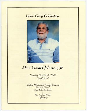 Primary view of object titled '[Funeral Program for Alton Gerald Johnson, Jr., October 8, 2002]'.