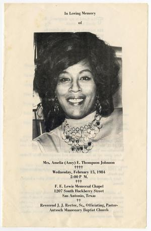 Primary view of object titled '[Funeral Program for Amelia E. Thompson Johnson, February 15, 1984]'.