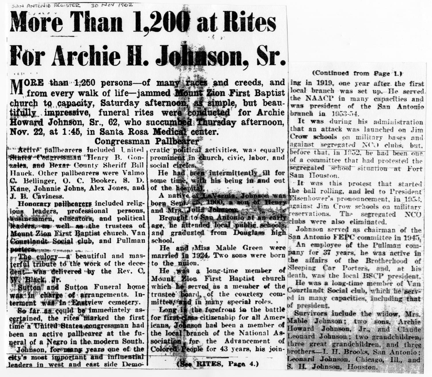 [Newspaper Clipping for Archie H. Johnson, Sr., November 30, 1962]                                                                                                      [Sequence #]: 1 of 4