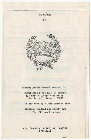 Primary view of object titled '[Funeral Program for Archie Howard Johnson, Jr., July 23, 1982]'.
