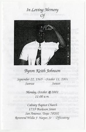 Primary view of object titled '[Funeral Program for Byron Keith Johnson, October 15, 2001]'.