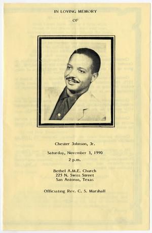 Primary view of object titled '[Funeral Program for Chester Johnson, Jr., November 3, 1990]'.