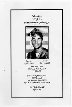 Primary view of object titled '[Funeral Program for Darrell Wayne H. Johnson, Jr., May 21, 2009]'.
