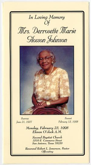 Primary view of object titled '[Funeral Program for Derrosette Marie Glosson Johnson, February 23, 1998]'.