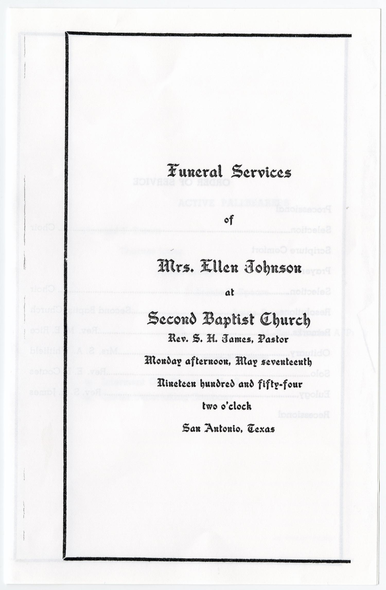 [Funeral Program for Ellen Johnson, May 17, 1954]                                                                                                      [Sequence #]: 1 of 3