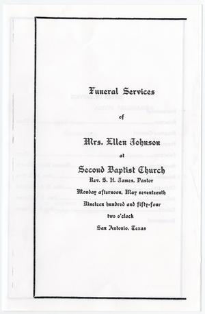 Primary view of object titled '[Funeral Program for Ellen Johnson, May 17, 1954]'.