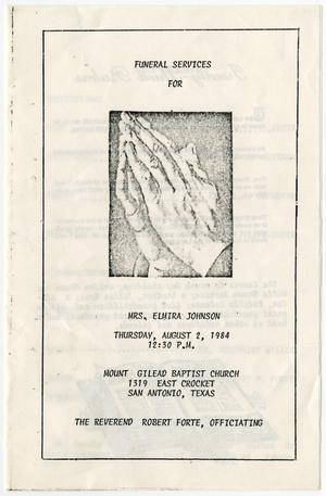 Primary view of object titled '[Funeral Program for Elmira Johnson, August 2, 1984]'.