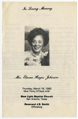 Primary view of object titled '[Funeral Program for Elnora Hayes Johnson, March 18, 1982]'.