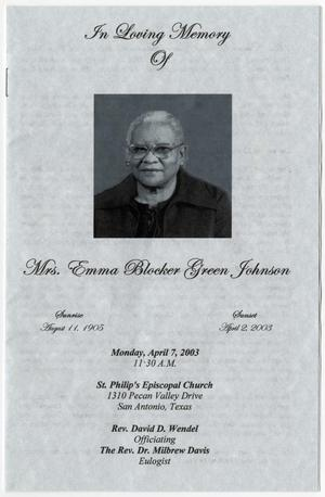 Primary view of object titled '[Funeral Program for Emma Blocker Green Johnson, April 7, 2003]'.