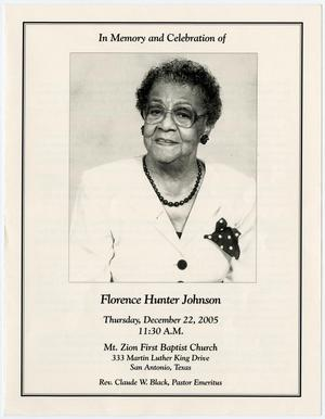 Primary view of object titled '[Funeral Program for Florence Hunter Johnson, December 22, 2005]'.
