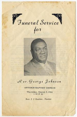 Primary view of object titled '[Funeral Program for George Johnson, March 5, 1964]'.