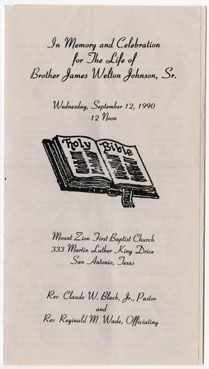Primary view of object titled '[Funeral Program for James Welton Johnson, Sr., September 12, 1990]'.