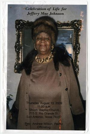 [Funeral Program for Jeffery Mae Johnson, August 13, 2009]