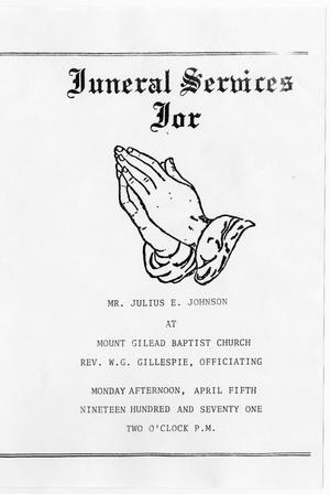 Primary view of object titled '[Funeral Program for Julius E. Johnson, April 5, 1971]'.