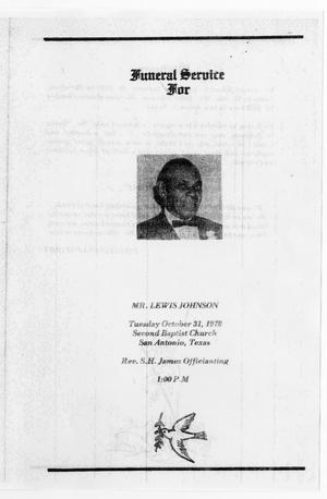 Primary view of object titled '[Funeral Program for Lewis Johnson, October 31, 1978]'.