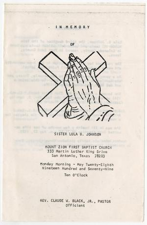 Primary view of object titled '[Funeral Program for Lula B. Johnson, May 28, 1979]'.