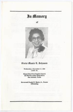 Primary view of object titled '[Funeral Program for Mamie L. Johnson, December 17, 1980]'.
