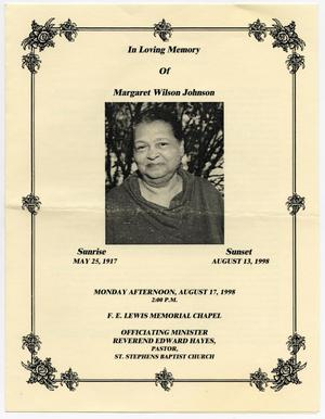 Primary view of object titled '[Funeral Program for Margaret Wilson Johnson, August 17, 1998]'.