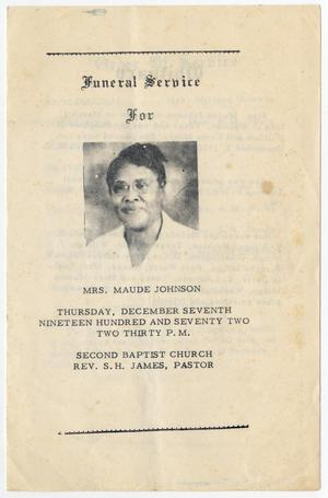 Primary view of object titled '[Funeral Program for Maude Johnson, December 7, 1972]'.