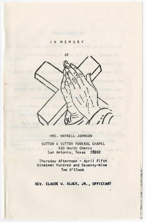 Primary view of object titled '[Funeral Program for Maybell Johnson, April 5, 1979]'.
