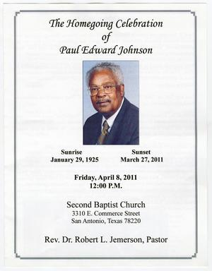 Primary view of object titled '[Funeral Program for Paul Edward Johnson, April 8, 2011]'.