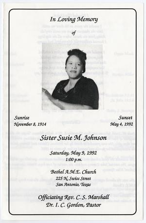 Primary view of object titled '[Funeral Program for Susie M. Johnson, May 9, 1992]'.