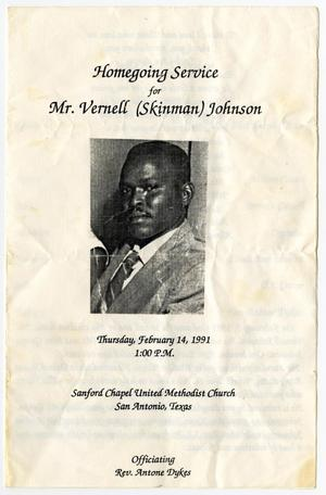 Primary view of object titled '[Funeral Program for Vernell Johnson, February 14, 1991]'.
