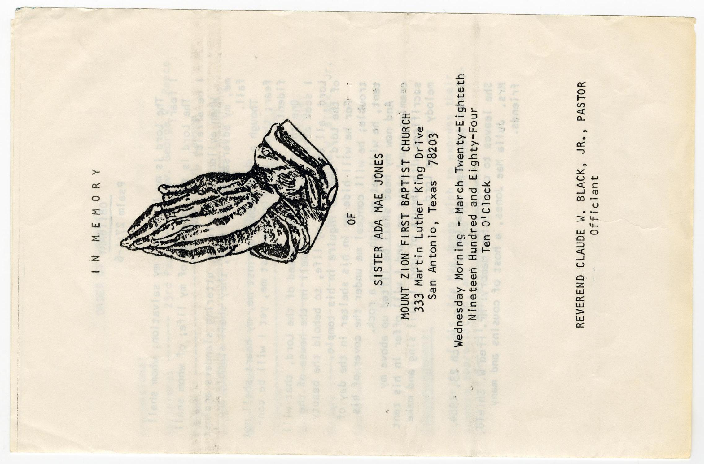 [Funeral Program for Ada Mae Jones, March 28, 1984]                                                                                                      [Sequence #]: 1 of 3
