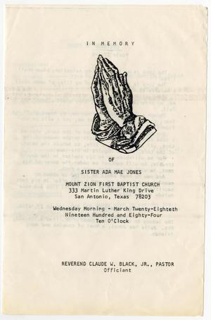 Primary view of object titled '[Funeral Program for Ada Mae Jones, March 28, 1984]'.
