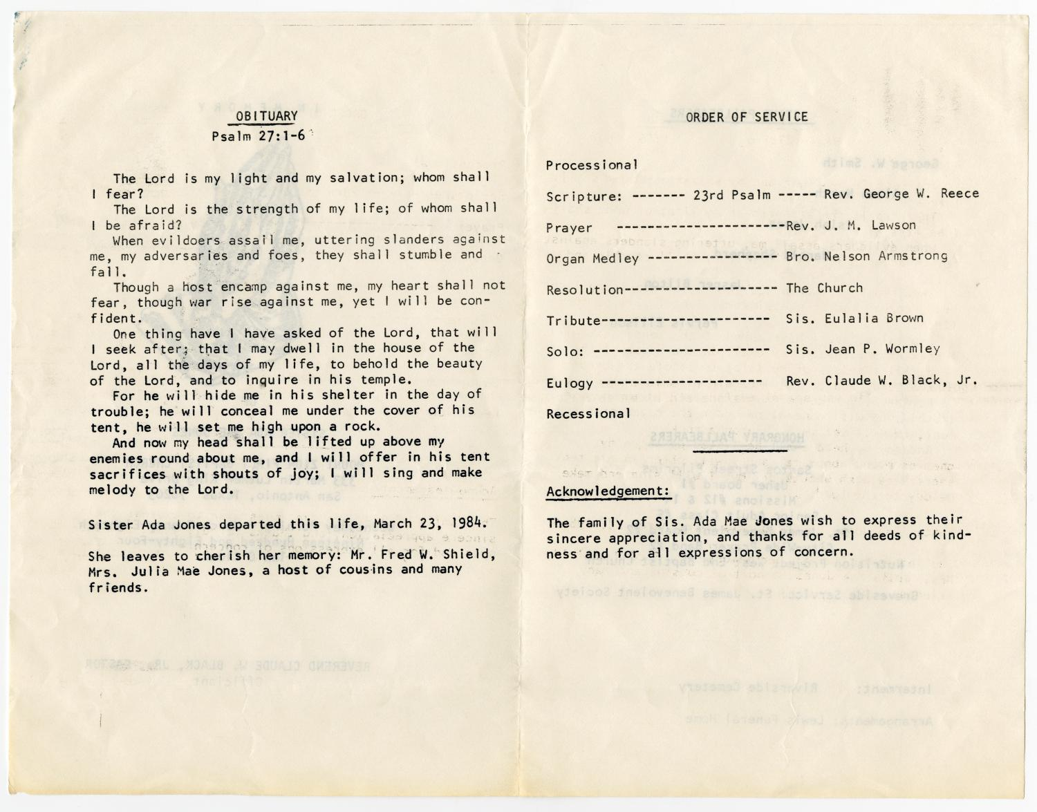 [Funeral Program for Ada Mae Jones, March 28, 1984]                                                                                                      [Sequence #]: 2 of 3