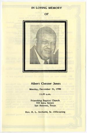 Primary view of object titled '[Funeral Program for Albert Chester Jones, December 31, 1990]'.