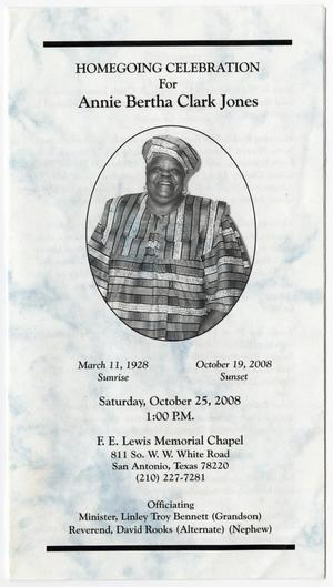 Primary view of object titled '[Funeral Program for Annie Bertha Clark Jones, October 25, 2008]'.