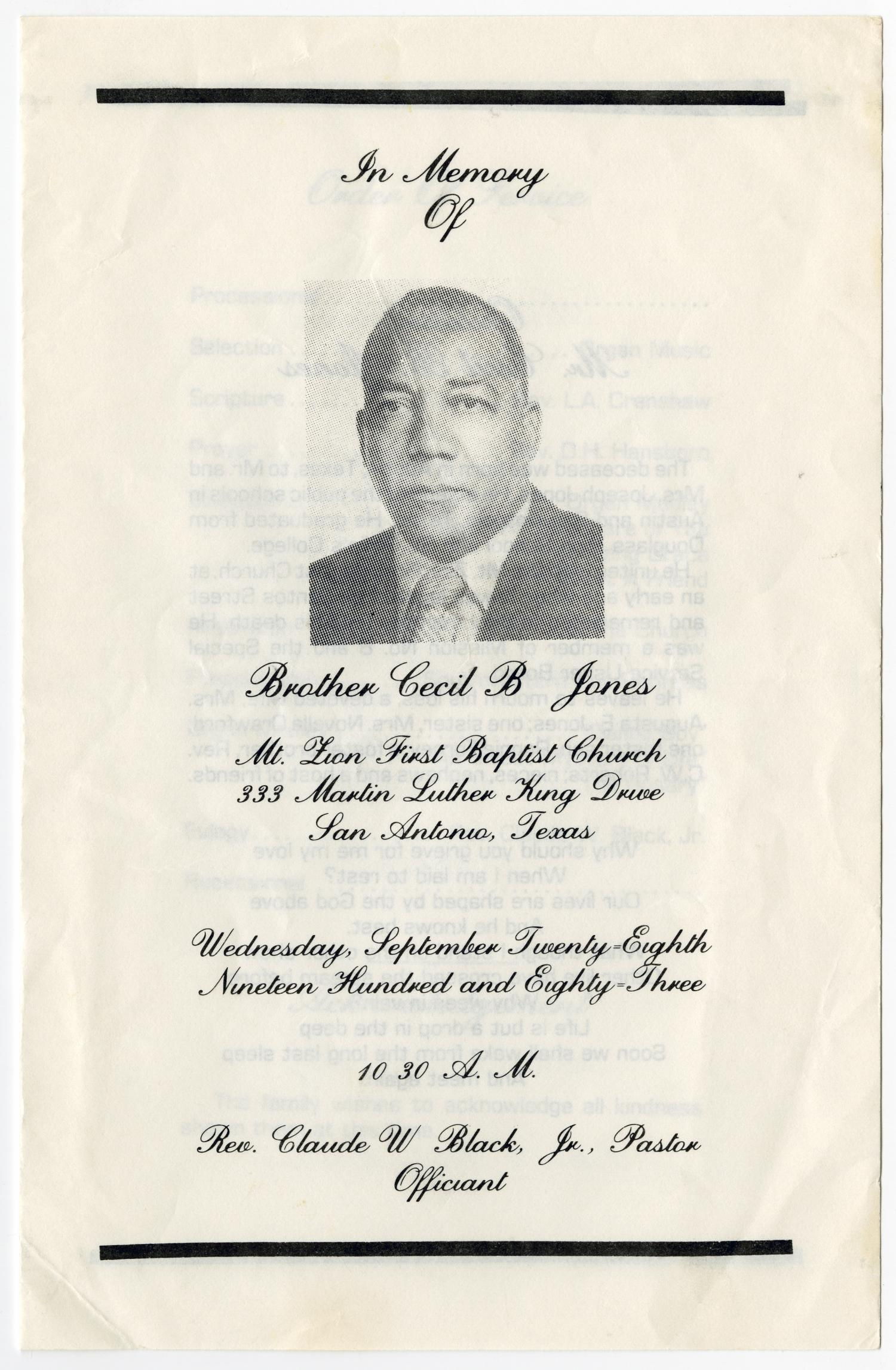[Funeral Program for Cecil B. Jones, September 28, 1983]                                                                                                      [Sequence #]: 1 of 3