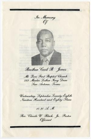Primary view of object titled '[Funeral Program for Cecil B. Jones, September 28, 1983]'.