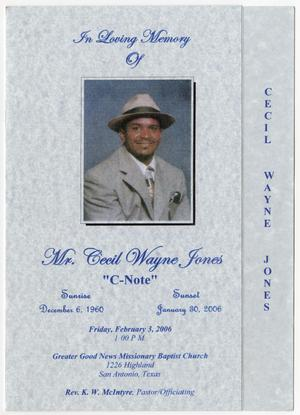 Primary view of object titled '[Funeral Program for Cecil Wayne Jones, February 3, 2006]'.