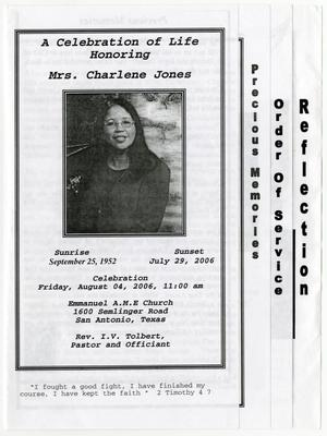 Primary view of object titled '[Funeral Program for Charlene Jones, August 4, 2006]'.