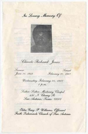 Primary view of object titled '[Funeral Program for Claude Richard Jones, February 25, 1987]'.