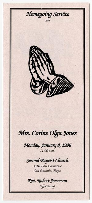 Primary view of object titled '[Funeral Program for Corine Olga Jones, January 8, 1996]'.