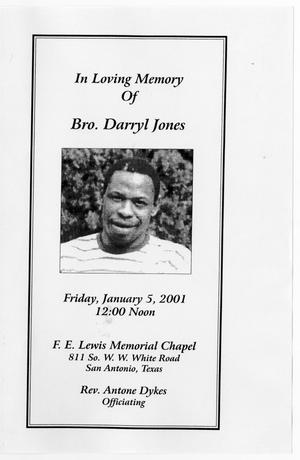 Primary view of object titled '[Funeral Program for Darryl Jones, January 5, 2001]'.