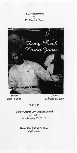 Primary view of object titled '[Funeral Program for Earon J. Jones, March 2009]'.