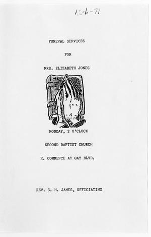 Primary view of object titled '[Funeral Program for Elizabeth Jones, December 6, 1971]'.