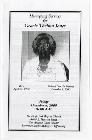 [Funeral Program for Gracie Thelma Jones, December 8, 2000]